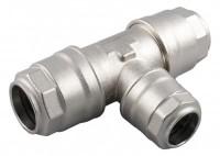 Reduktions-tee med kondensaftap for aluminiums trykluftrørsystem